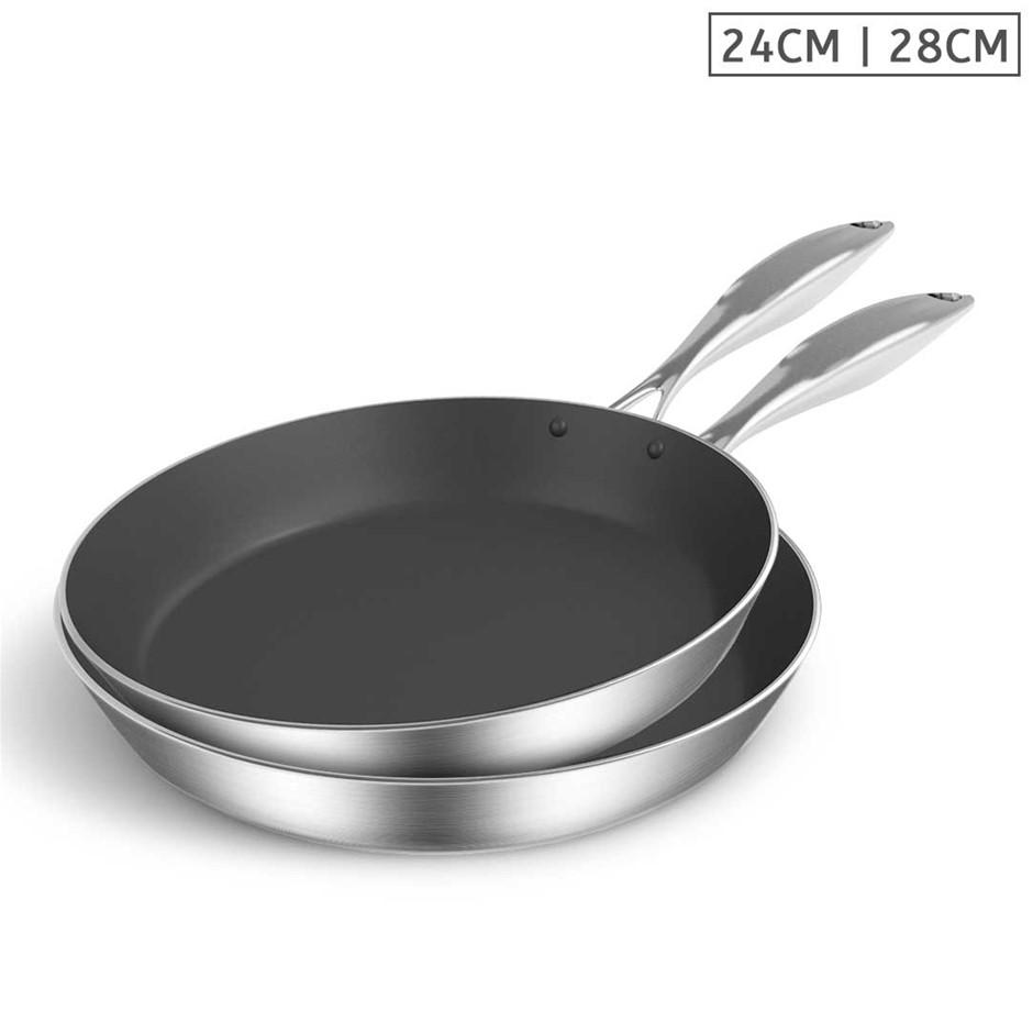 SOGA SS Fry Pan 24cm 28cm Frying Pan Induction Non Stick Interior