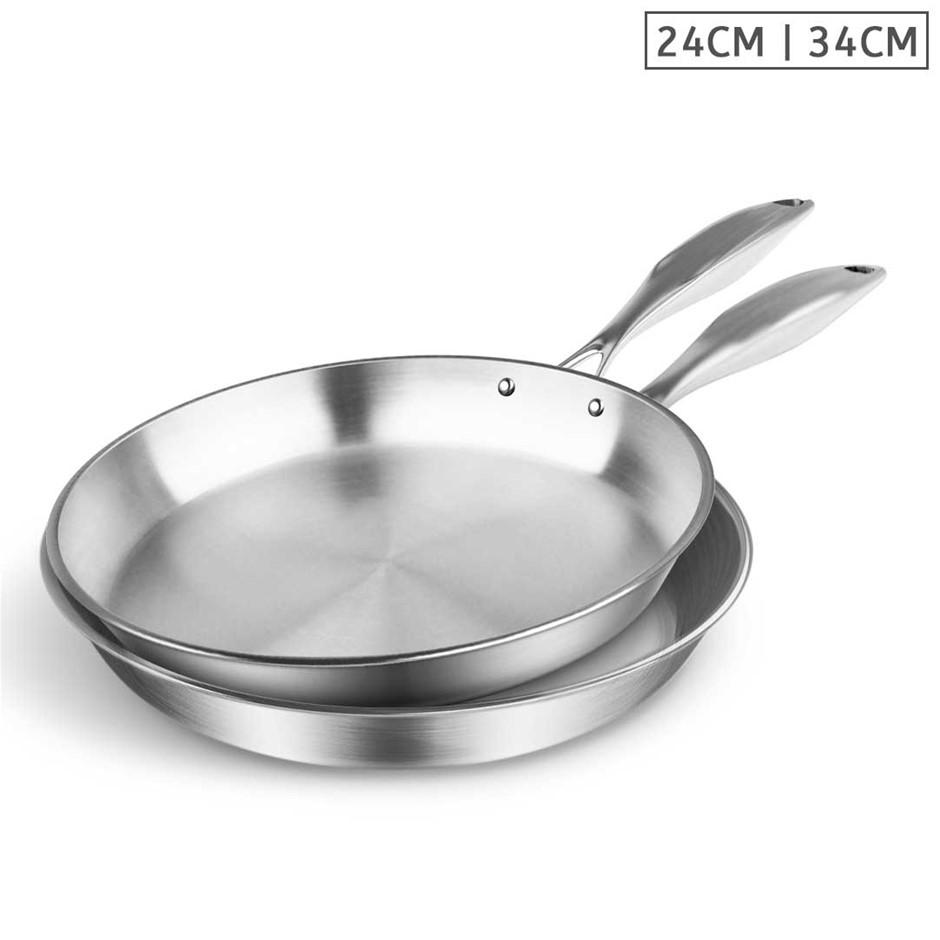 SOGA SS Fry Pan 24cm 34cm Frying Pan Top Grade Induction Cooking