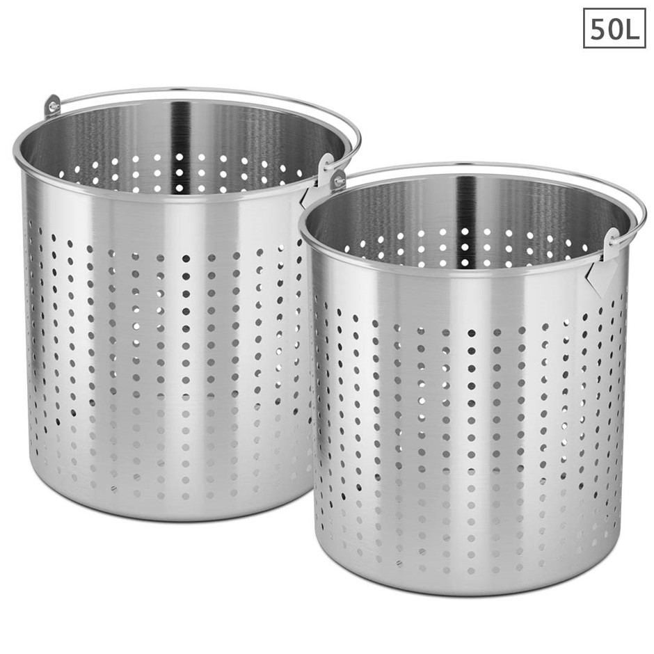 SOGA 2X 50L 18/10 SS Perforated Stockpot Basket Pasta Strainer W/ Handle