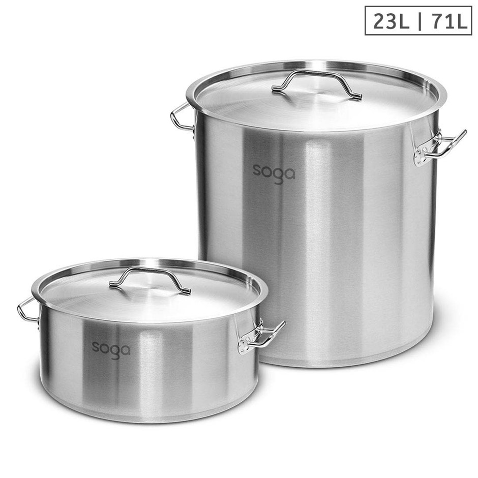 SOGA 23L Wide Stock Pot and 71L Tall Top Grade Thick SS Stockpot 18/10