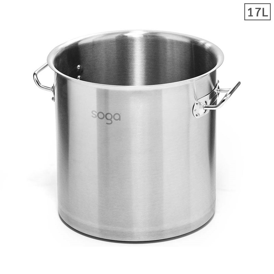 SOGA Stock Pot 17L Top Grade Thick Stainless Steel Stockpot 18/10 W/out Lid