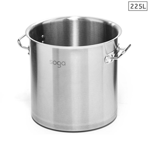 SOGA Stock Pot 225L Top Grade Thick SS S