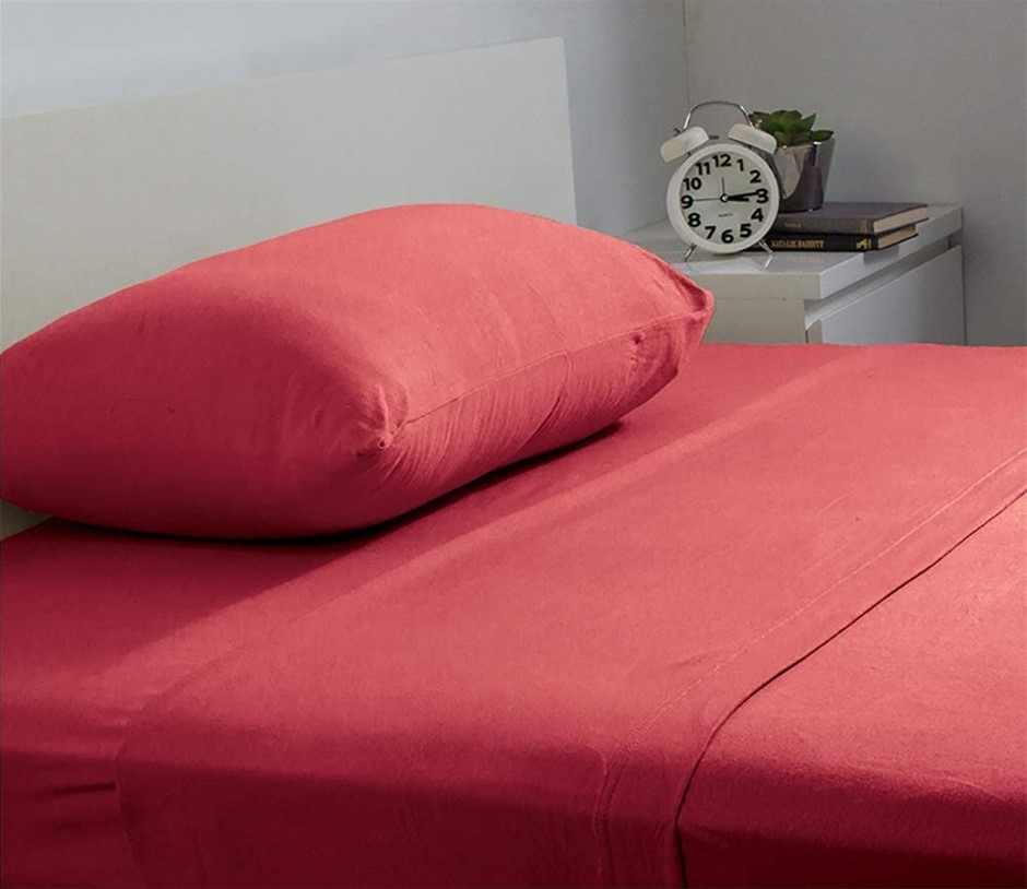 BAMBURY BedT Sheet Set, Double, Ruby. 100% Cotton. Flat: 230 x 250cm Fitted