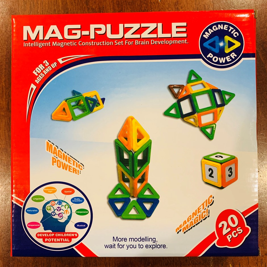 Mag Puzzle - 20 Magnetic Pieces in Different Shapes