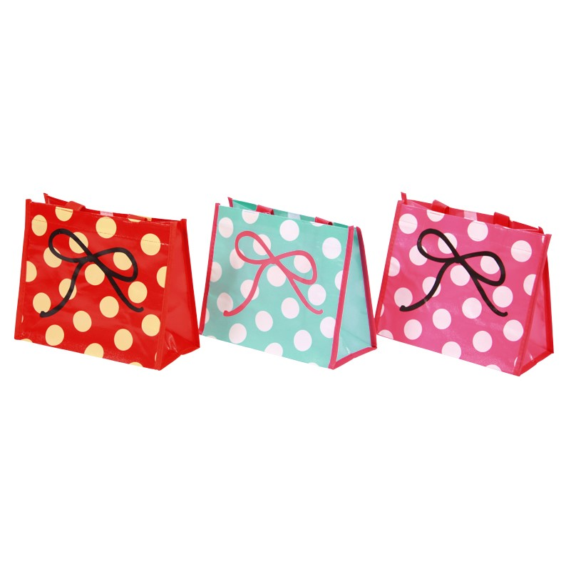 24 x Gift Bags 20x24cm Coated fabric with polka dots & bow: Pink, Red, Blue