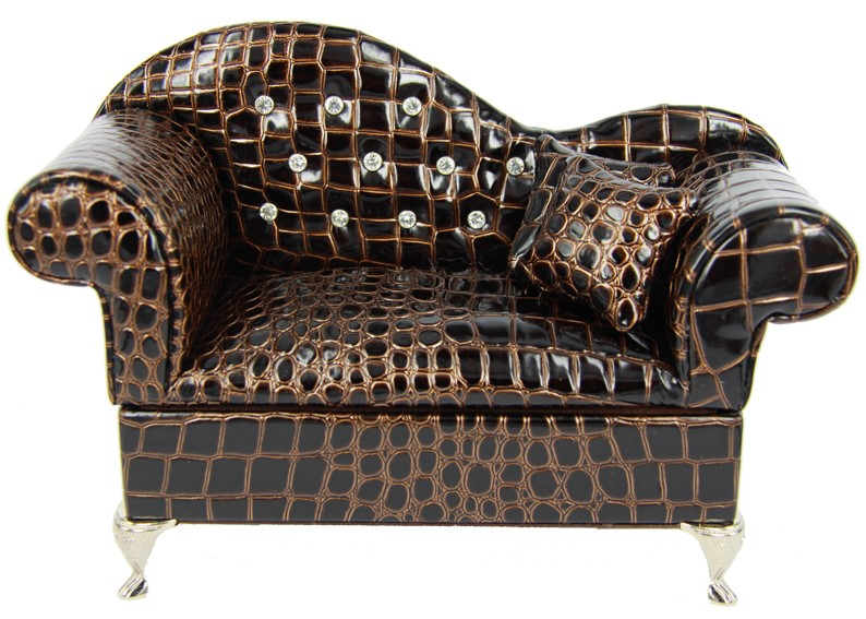 JEWELLERY BOX COUCH (FAUX SNAKE SKIN) (25cm x 14cm x 10cm): BROWN