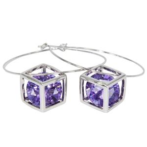 Earrings - Floating Purple Cubic Zironia