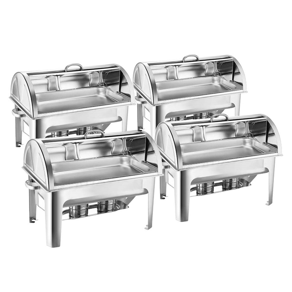 SOGA 4X Stainless Steel Full Size Roll Top Chafing Dish 9L Food Warmer