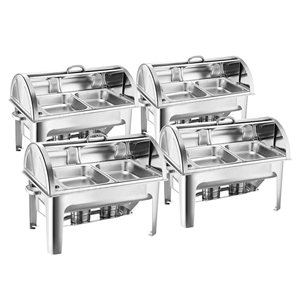 SOGA 4X Stainless Steel Roll Top Chafing