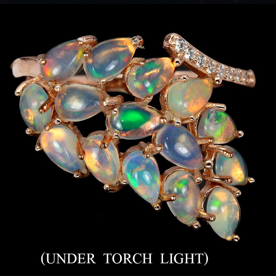 Amazing Genuine Fire Opal Statement Ring.