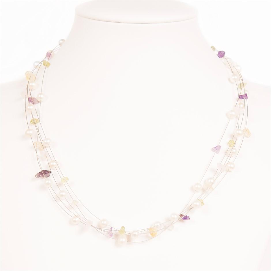 Freshwater Pearl, Amethyst, Rose Quartz, Citrine, Topaz Silver Necklace