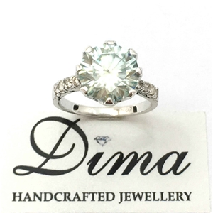 18ct White Gold, 3.74ct Moissanite and D
