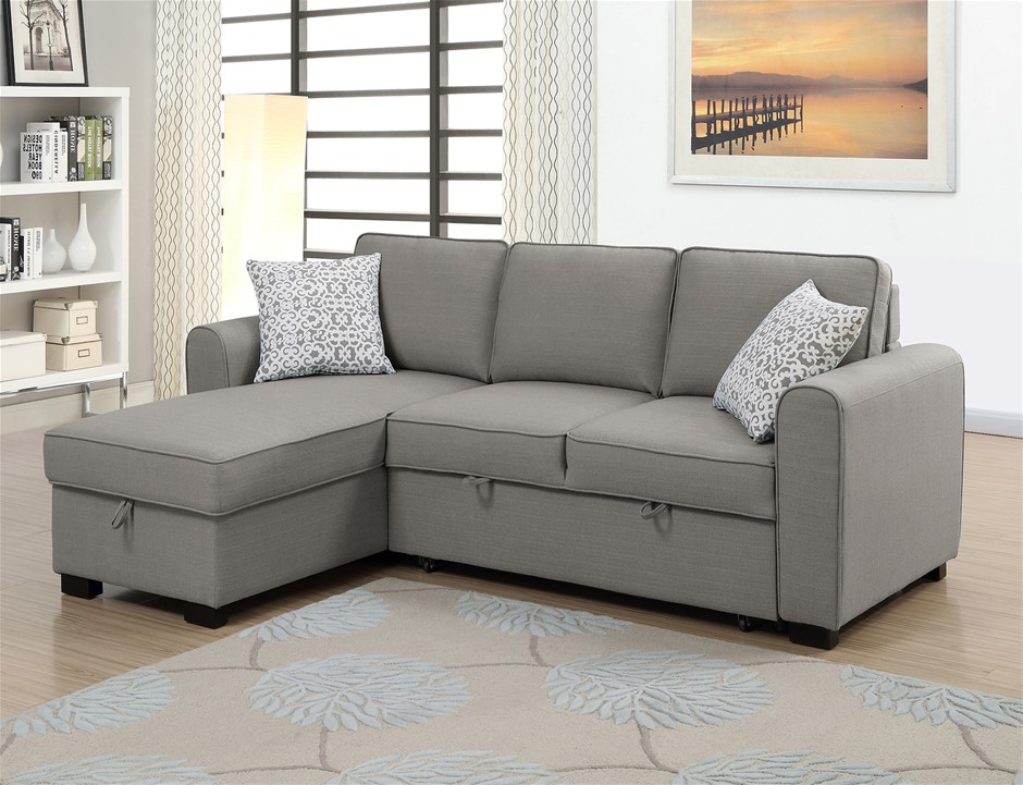 Jessie RHF Chaise With Sofabed & Storage - Storm