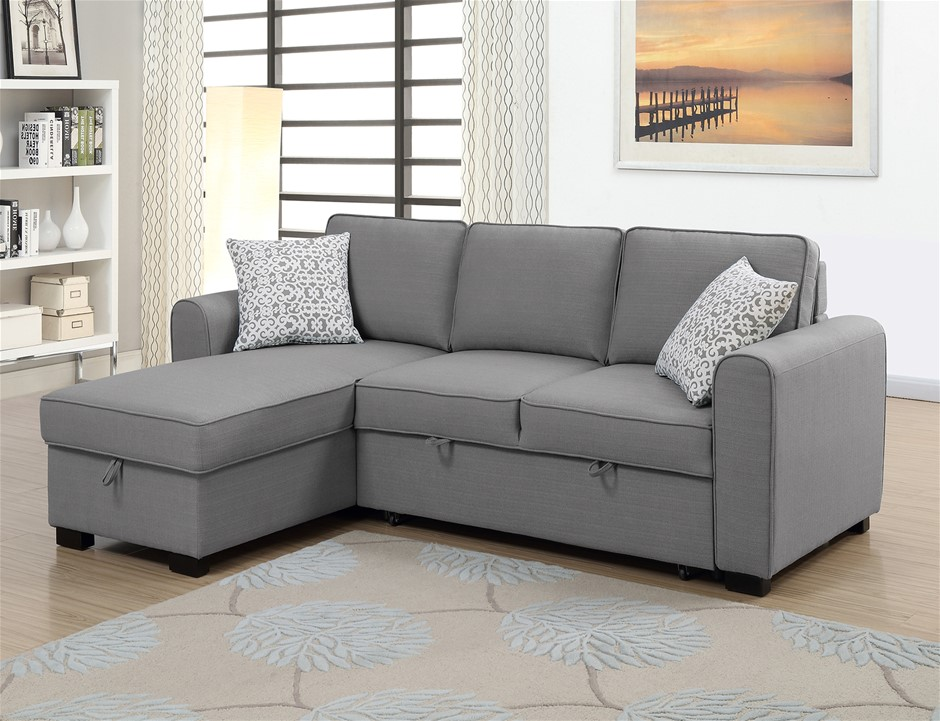 Jessie RHF Chaise With Sofabed & Storage - Grey
