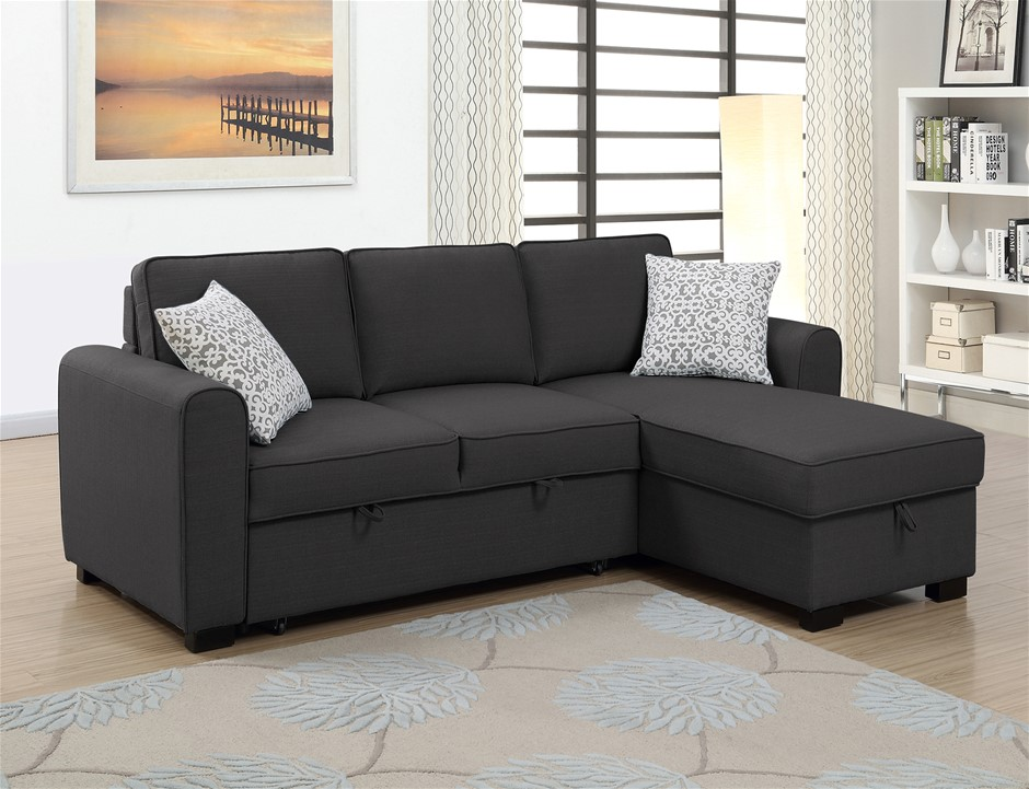 Jessie LHF Chaise With Sofabed & Storage - Charcoal