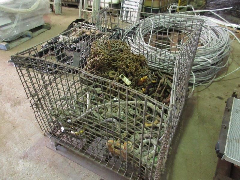 Stillage Containing Quantity of Chain Slings, Wire Rope Slings, Shackles
