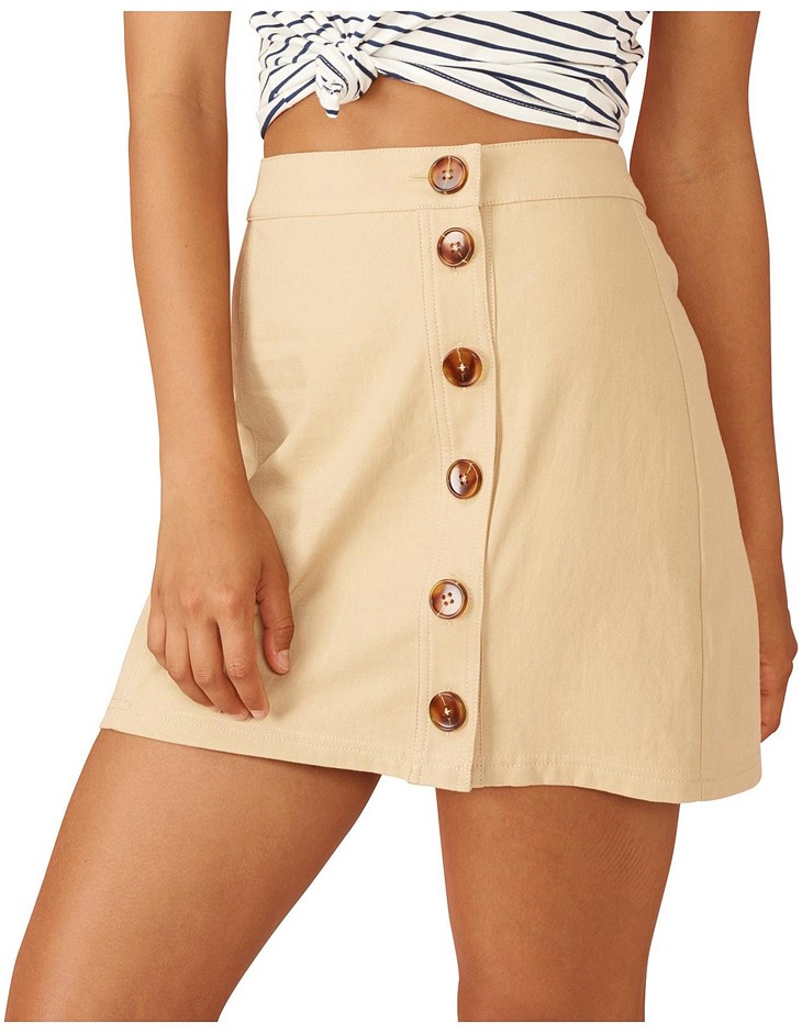 MINK PINK Neutral Buttoned Mini Skirt. Size M, Colour: Neutral. Buyers Note