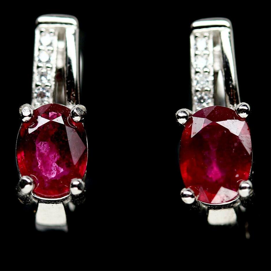 Beautiful Genuine Ruby Huggie Earrings.