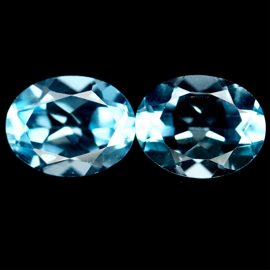 4.20ct. Genuine Oval Facet Sky Blue Topaz 2 Piece