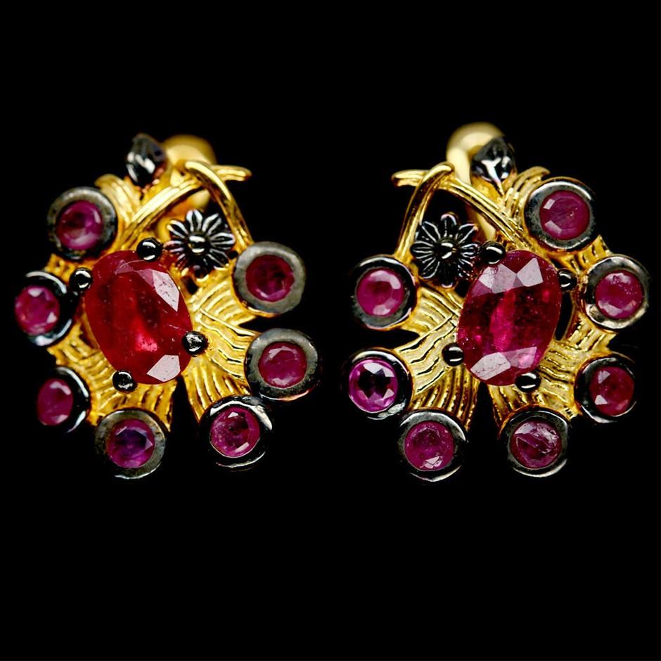 Unique Genuine Ruby Huggie Earrings.