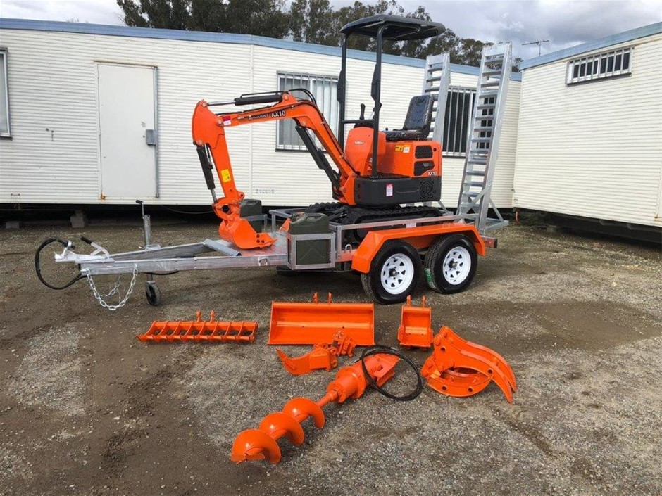 New 2020 Kobolt KX10 Mini Excavator Package with Attachments & Trailer