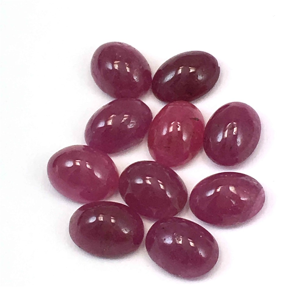 Ten Loose Oval Shaped Ruby Cabochons 17.05ct