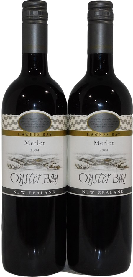 Oyster Bay Hawkes Bay Merlot 2004 (2x 750mL), NZ. Screwcap