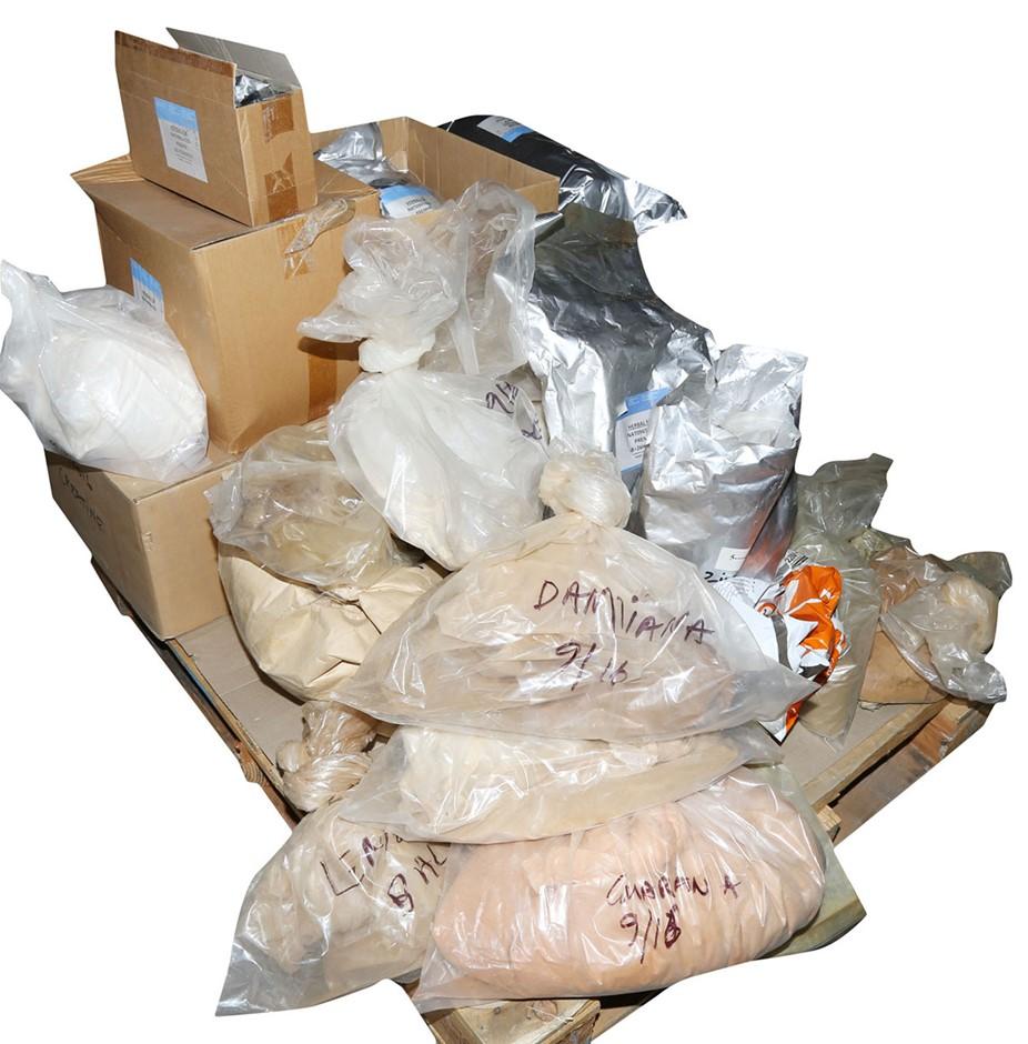 Pallet of Part Bags Ingredient Powders Comprising: Magnesium, Creatine, Col