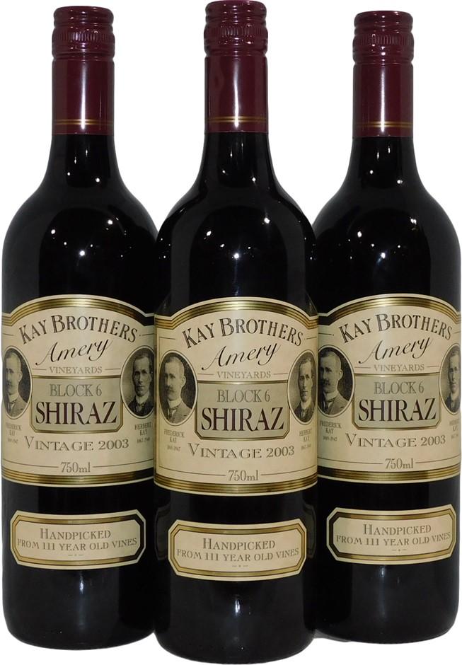 Kay Brothers Block 6 Shiraz 2003 (3x 750mL), SA. Screwcap.