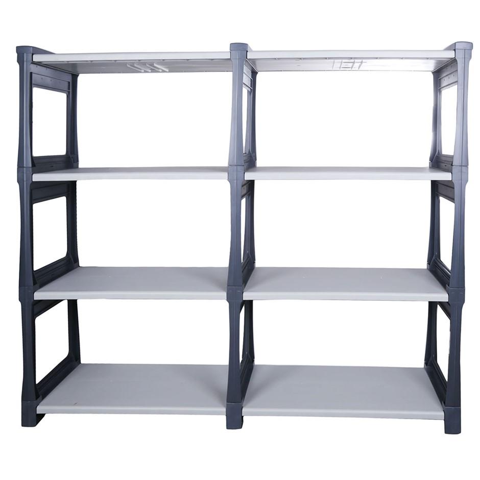 TRIOPLAST Resin Indoor/ Outdoor 8-Tier Shelf Unit, 160x240x72cm, Grey Charc