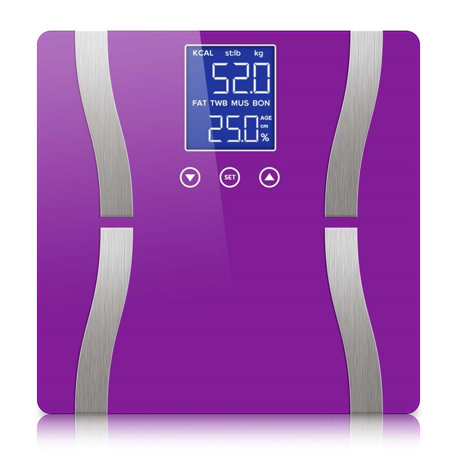 SOGA Digital Body Fat Scale Bathroom Scales LCD Electronic Purple