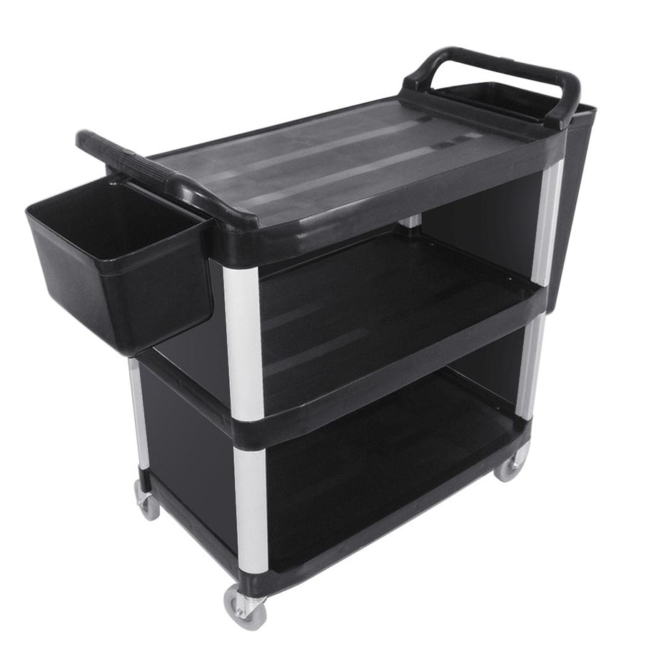 SOGA 3 Tier Covered Food Trolley Food Waste Cart