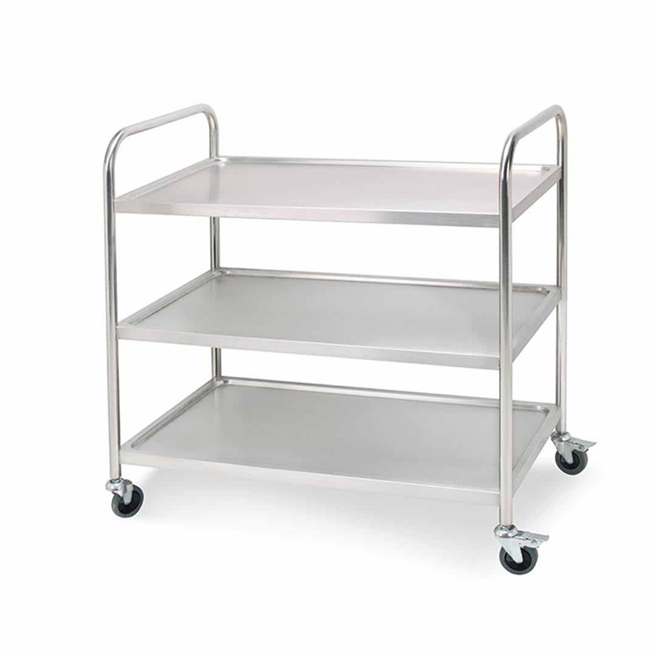 SOGA 3 Tier S/S Kitchen Dining Food Cart Trolley Utility Rnd 86x54x94cm Lge