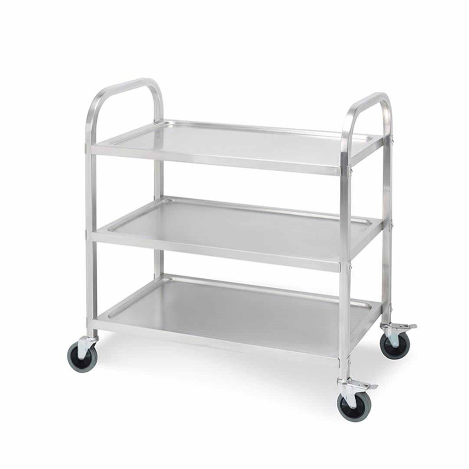 SOGA 3 Tier S/S Kitchen Dining Food Cart Trolley Utility - 95x50x95cm Lge