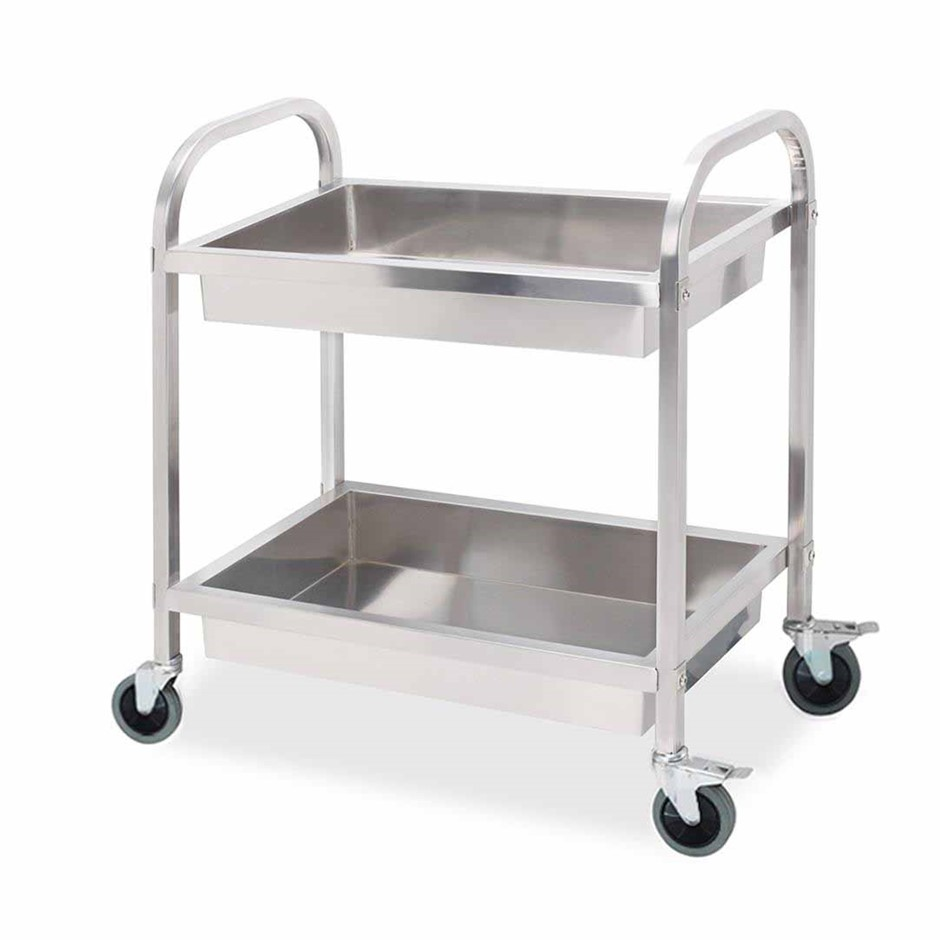 SOGA 2 Tier S/S Kitchen Trolley Bowl Collect Srvce Food Cart 85x45x90cm Med