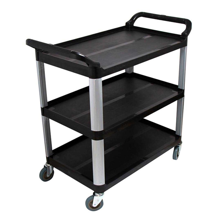 SOGA 3 Tier Trolley Food Waste Cart Strge Mech Kitchen Blk 10.2x50x96cm Lge