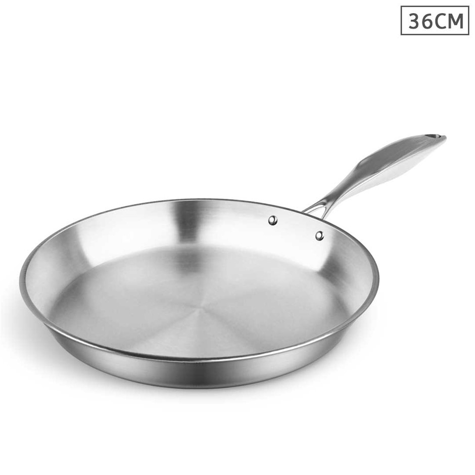 SOGA Stainless Steel Fry Pan 36cm Top Grade Induction Cooking Frypan