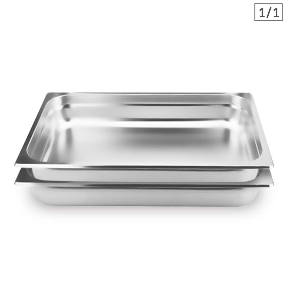 SOGA 2X Gastronorm GN Pan Full Size 1/1 GN Pan 10cm Stainless Steel Tray