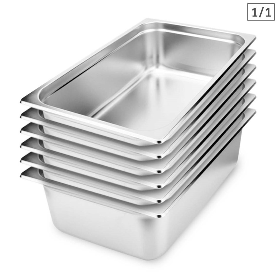SOGA 6X Gastronorm GN Pan Full Size 1/1 GN Pan 15cm Stainless Steel Tray