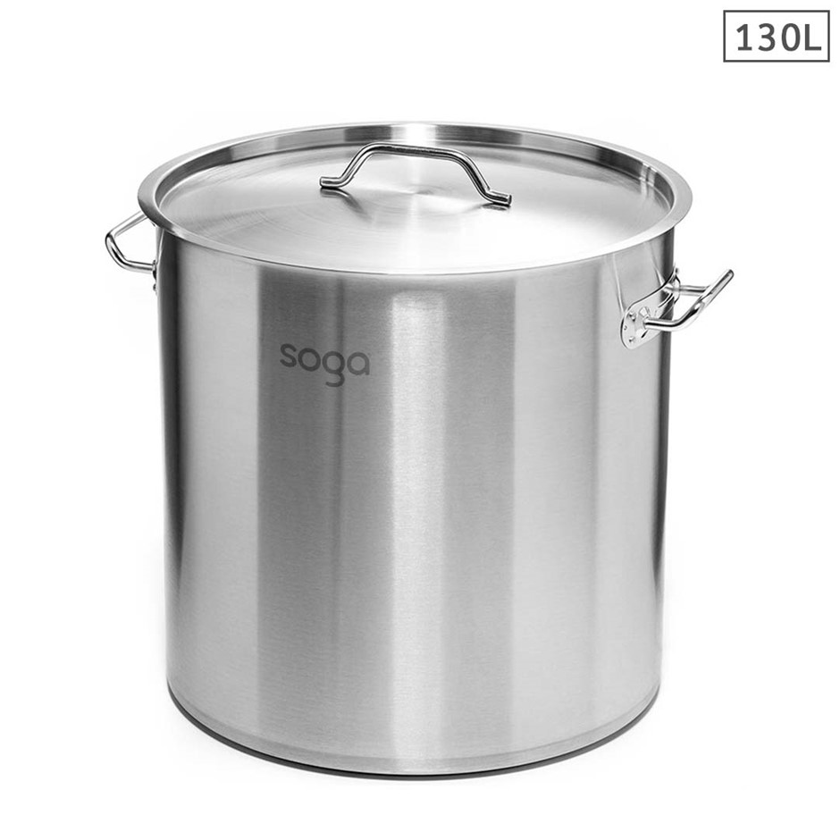 SOGA Stock Pot 130Lt 55CM Top Grade Thick Stainless Steel 18/10 RRP $485