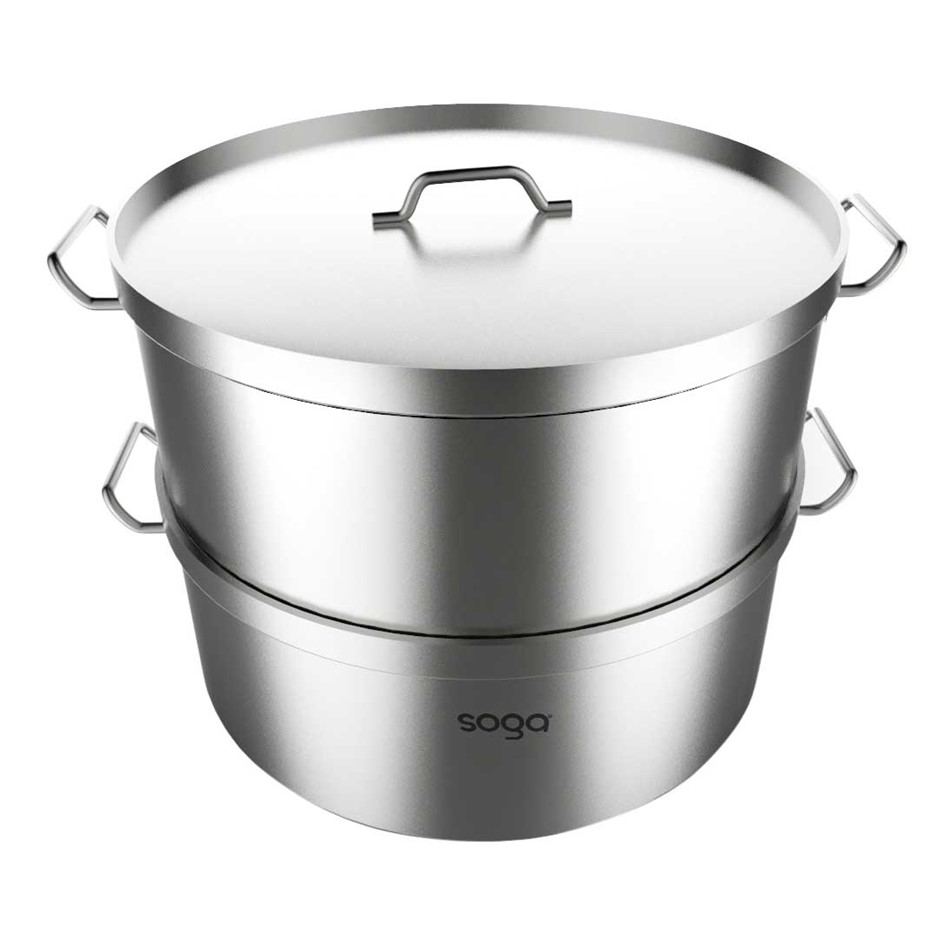 SOGA Commercial 304 S/S Steamer With 2 Tiers Top Food Grade 45*28cm