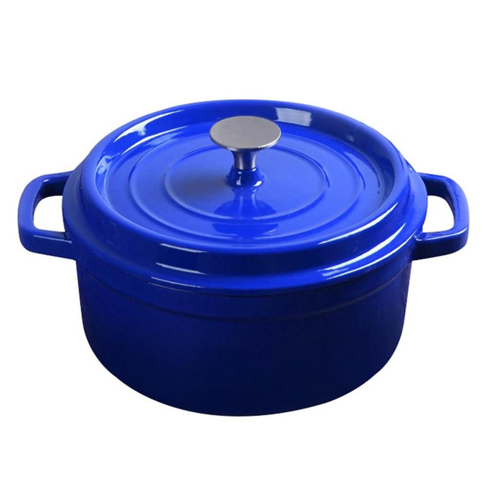 SOGA Cast Iron 24cm Enamel Porcelain Stewpot Cooking Pot With Lid 3.6L Blue