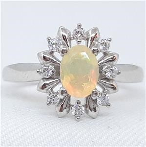 Genuine Opal & White Sapphire Ring