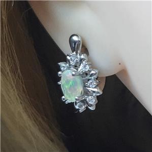 Genuine Opal & White Sapphire Huggie Earrings
