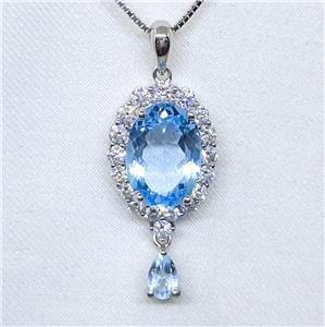 Spectacular Genuine Blue Topaz Pendant