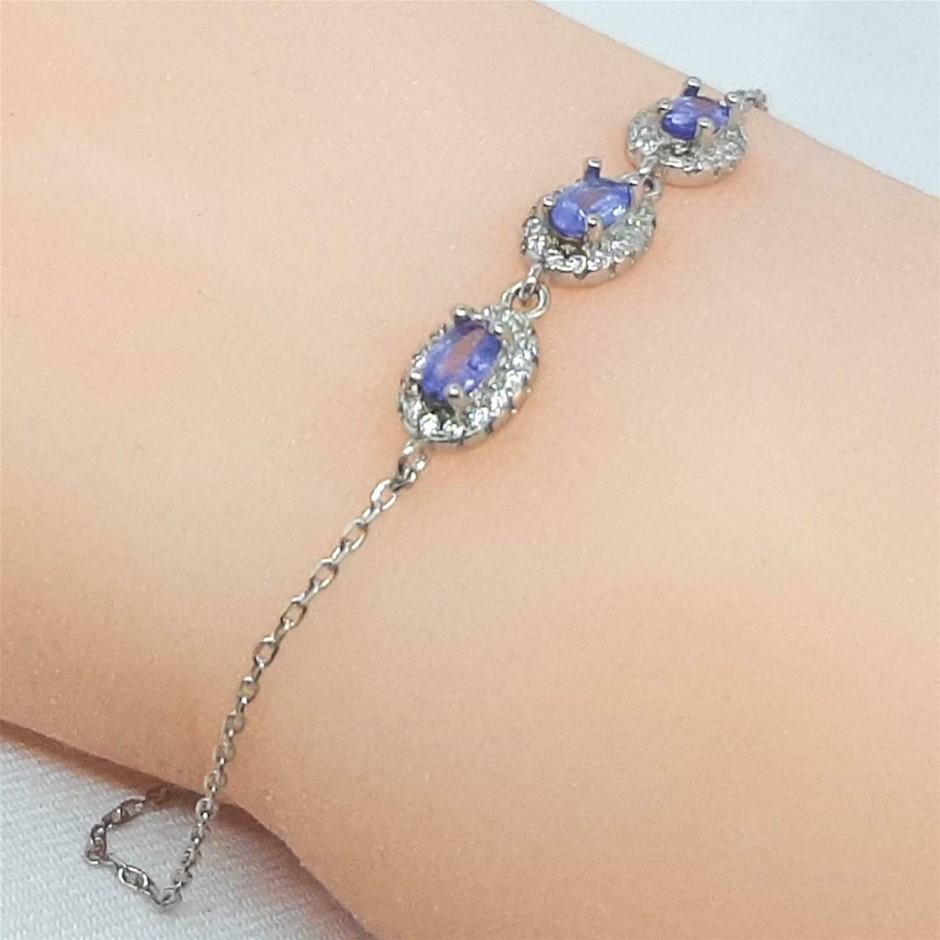 Glorious Genuine Cornflower Blue Tanzanite Bracelet.