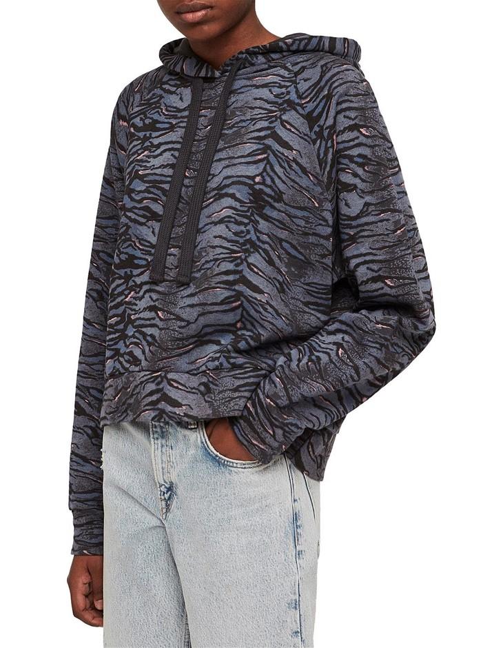 ALL SAINTS Tygers Raglan Hoody. Size M, Colour: Washed Black. 100% Cotton.
