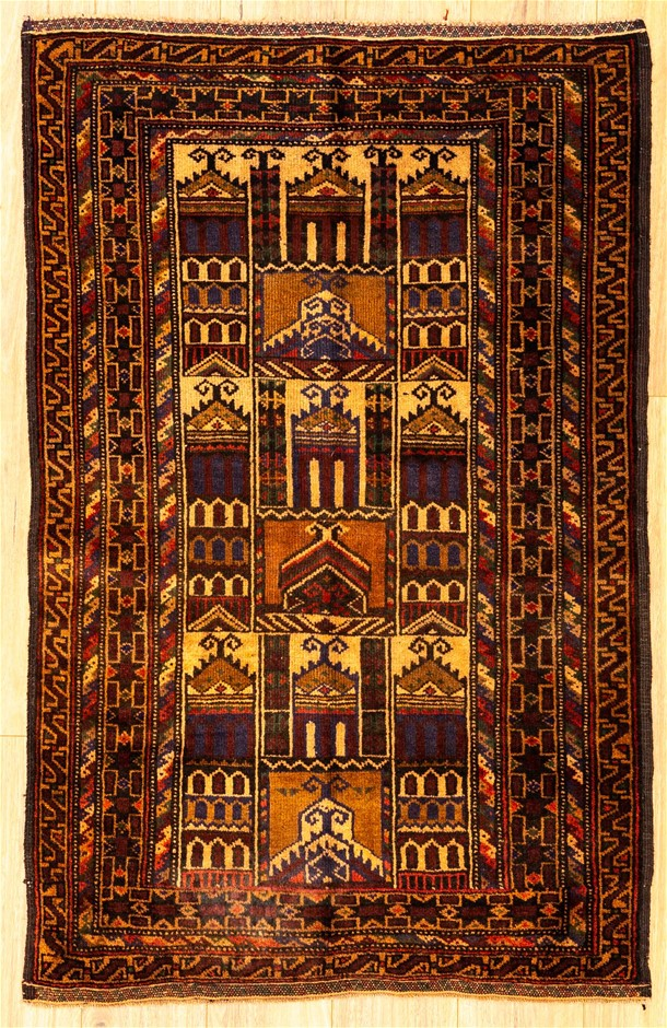 Handknotted Pure Wool Fine Vintage Persian Baluchi Rug - Size 130cm x 82cm
