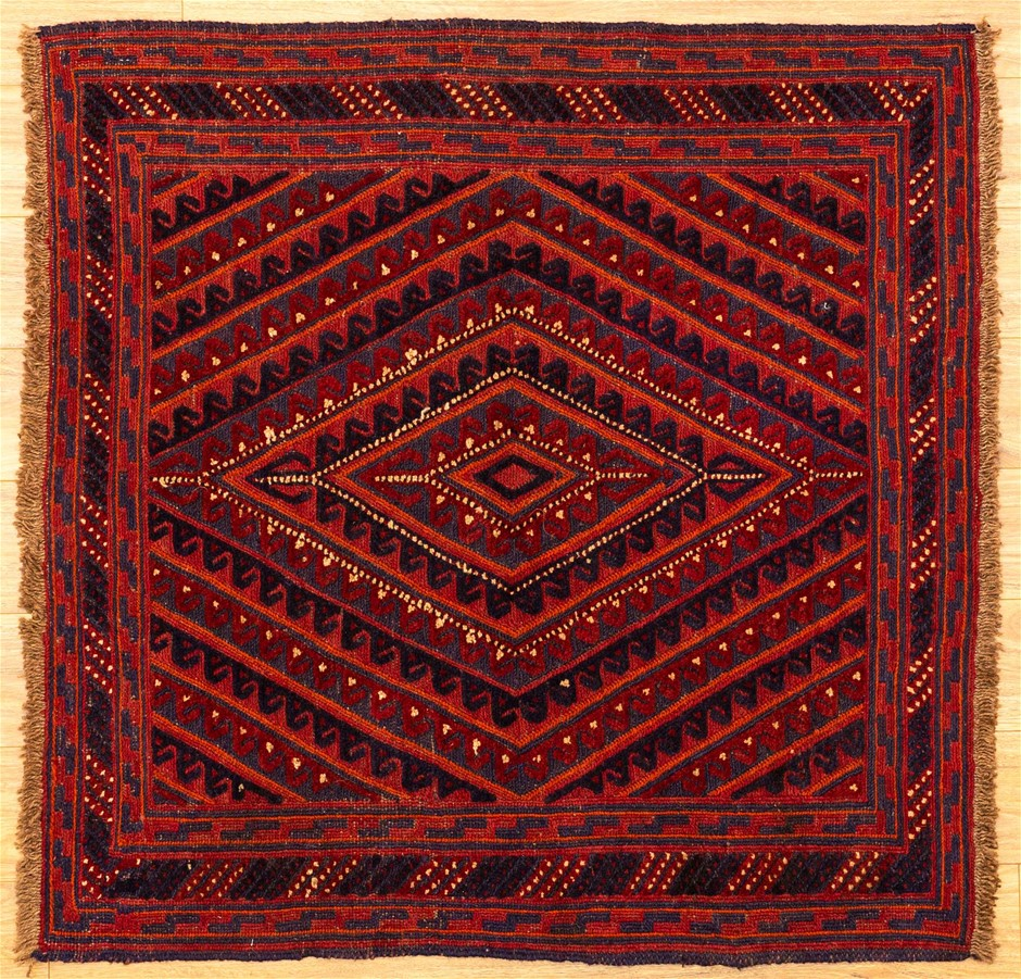 Handknotted Pure Wool Persian Baluchi Rug - Size 120cm x 118cm