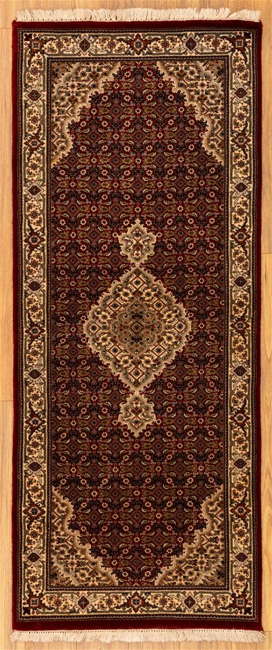 Handknotted Wool & Silk Inlaid Very Fine Persian Tabriz Rug - Size 200x81cm